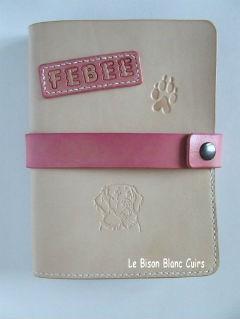 protège carnet de santé en cuir tanné végétal pour chien chat furet cheval animal de compagnie Febee