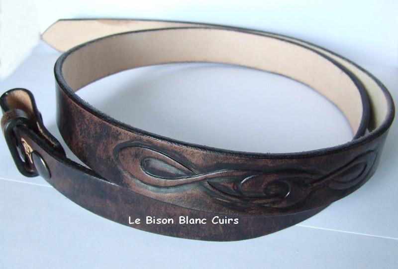 ceinture personnalisée noir antique avec motifs celtiques 2 boutons pression