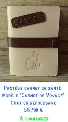 Fiche protège carnet de santé en cuir CARNET DE VOYAGE chat
