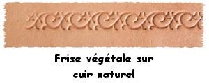 Fiche frise vegetale sur cuir naturel, pour personnaliser les articles de la boutique