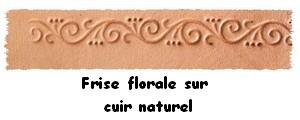 Fiche frise florale sur cuir naturel, pour personnaliser les articles de la boutique
