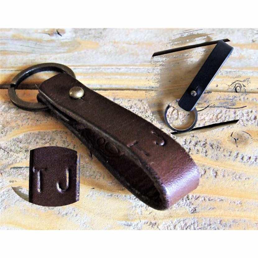 5383335cd3d Porte-clé de Ceinture en cuir noir ou marron avec initiales