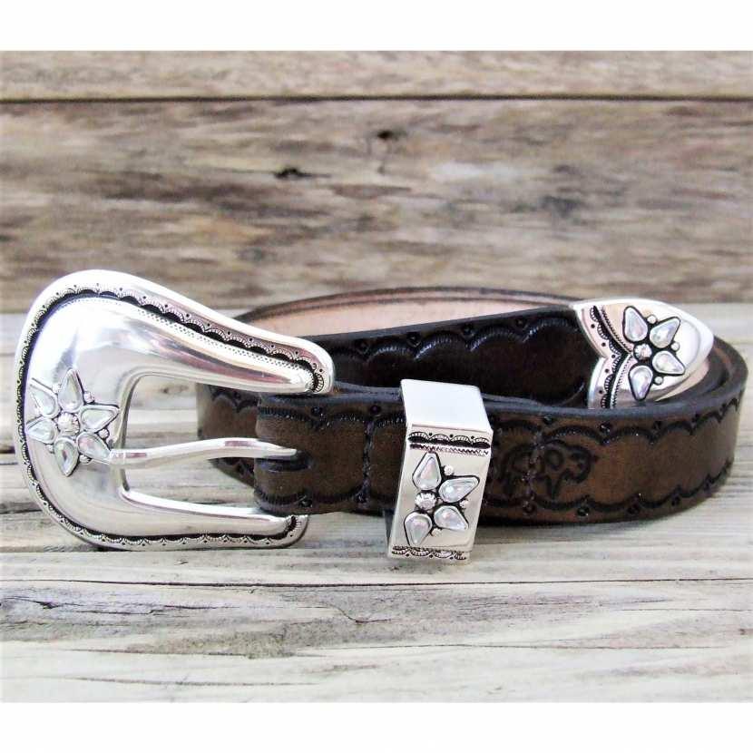 5f4a68d63f4a Ceinture femme en cuir style western idéale dance country, marron très  foncé, boucle western