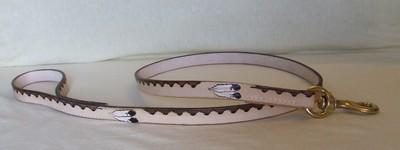 laisse cuir épais pour chien 1,6 cm de large 1 m de long décorée