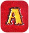 lettre initiale A alphabet standard en clair sur fond rouge foncé