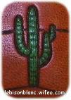 dessin cactus cierge peint en vert sur cuir tanné végétal teint en orangé
