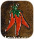 dessin piments peints sur cuir tanné végétal teint en marrant