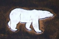 dessin motif martelage embossé martelé incrusté relief ours polaire blanc peint