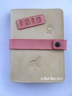 protège carnet de santé en cuir tanné végétal pour chien chat furet cheval animal de compagnie Isie